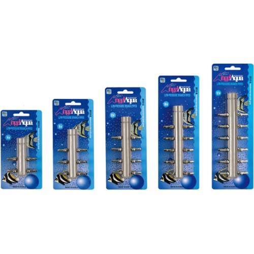 6 krypčių chromuotas kolektorius 9mm žarnai (1x18mm -> 6x9mm)