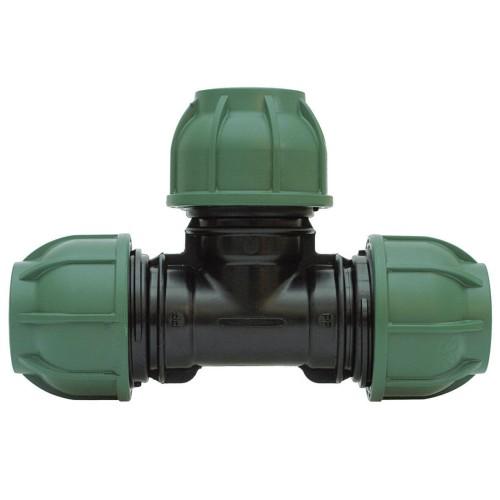 Kompresinis PP trišakis 90° PE vamzdžiui IRRITEC su veržikliais 40mm x 40mm x 40mm