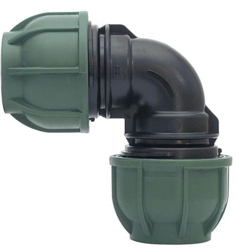Kompresinė PP alkūnė 90° PE vamzdžiui IRRITEC veržiklis / veržiklis 63mm